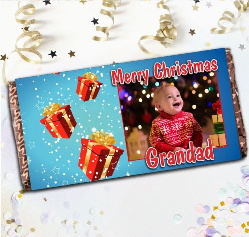 Personalised Merry Christmas Milk Chocolate Bar - Sparkle Gift Boxes Photo Gift N19